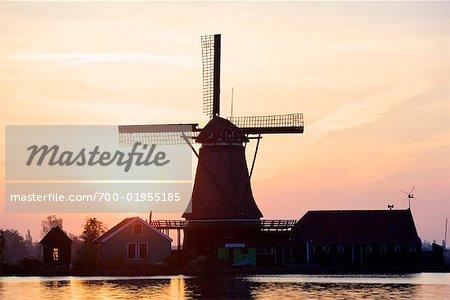 Windmill at Sunrise, Zaanse Schans, Zaandam, North Holland, Netherlands