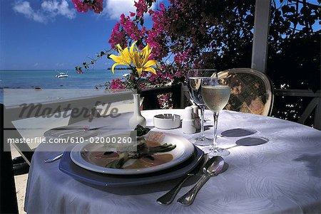Mauritius, Trou-aux-Biches, restaurant terrace