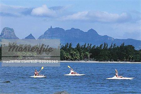 Mauritius, kayaking in the lagoon