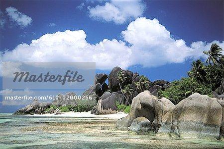 Seychelles, La Digue, paysage côtier