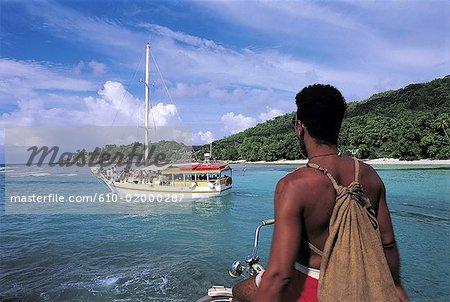 Seychelles, La Digue, bateau-taxi