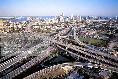 Aux États-Unis, la Floride, Miami, réseau routier