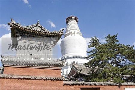 La Chine, la province du Shanxi, le Mont Wutai, Taihuai, temple de Tayuan, Grande Pagode blanche