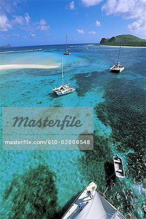 Maurice, l'île aux cerfs, bateaux de plaisance