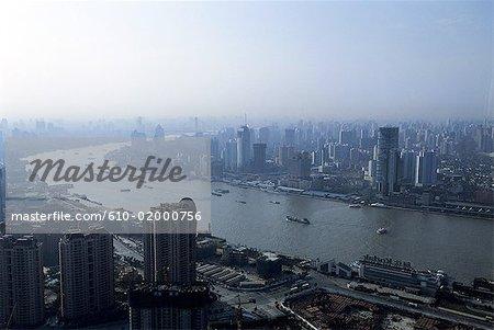 Chine, Shanghai, Pudong et rivière Huangpu