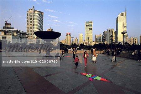 Chine, Shanghai, place du peuple