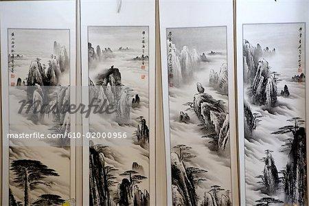Tentures de Chine, Anhui, avec des montagnes de Huangshan
