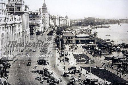 China, Shanghai, old photography of the Bund promenade
