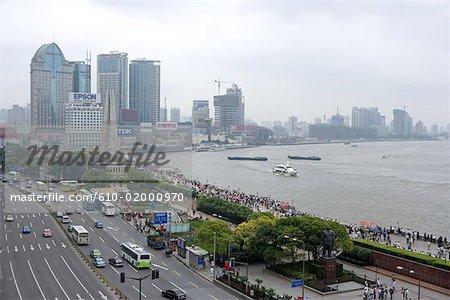 Chine, Shanghai, le Bund, promenade