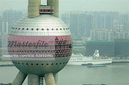 China, Shanghai, Pudong, TV Tower, detail