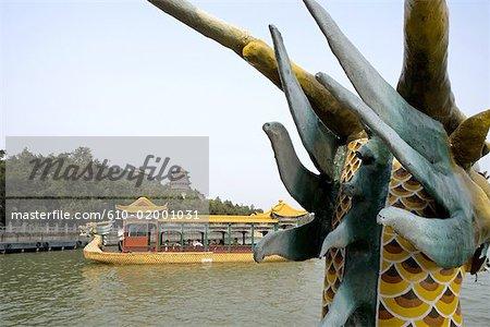 """China, Beijing, Summer Palace """"Yiheyuan"""", dragon boat"""