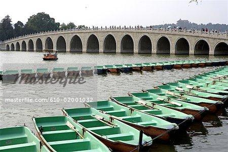 Chine, Beijing, bateaux et le pont aux dix-sept arches
