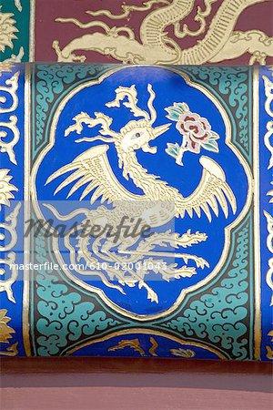 Chine, Beijing, Temple du ciel, la salle de prière pour les bonnes récoltes, dôme de détail, phoenix