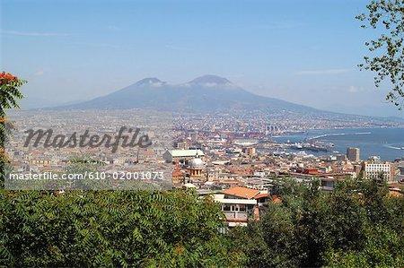 Italy, Campania, Naples, the city and the Vesuvius