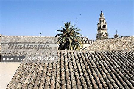 Espagne, Andalousie, Cordoue, vue d'ensemble sur les toits de tuiles, de l'Alcazar et Cathédrale beffroi au dos