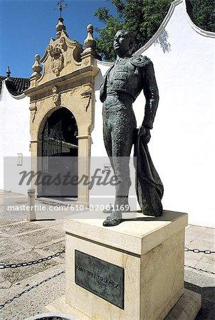 Spain, Andalusia, Ronda, plaza de Toros, monument to Ordonez