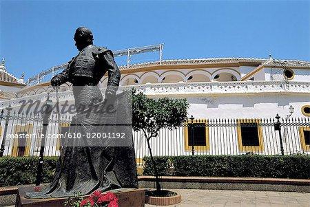 Spain, Andalusia, Seville, plaza deToros de la Maestranza, monument to Manolete