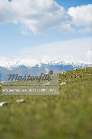 Randonneur assis dans le paysage de montagne