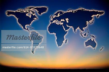 Atlas in a clear sky