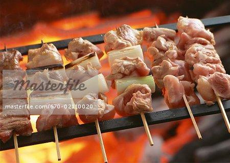 Grilled chicken on sticks