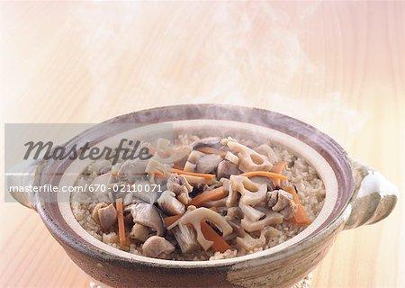 Riz aux légumes et viande