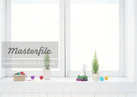 Christmas ornaments on windowsill