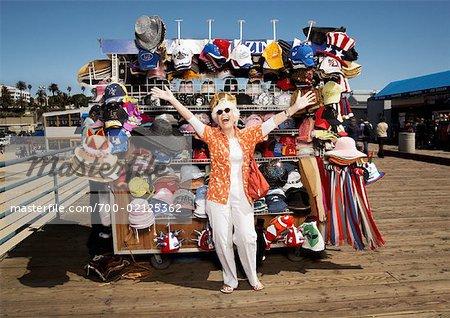 Woman on Santa Monica Pier, Santa Monica, California, USA