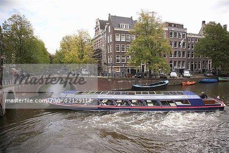 Bateau sur le Canal, Amsterdam, Pays-Bas