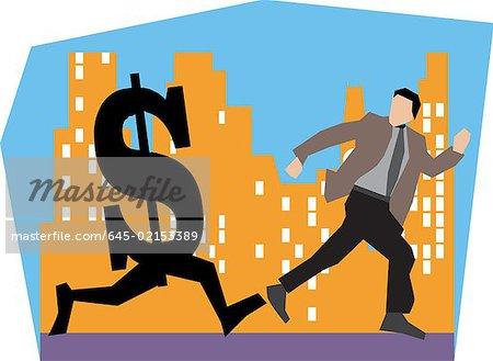 Kaufmann mit Dollar von Gebäuden
