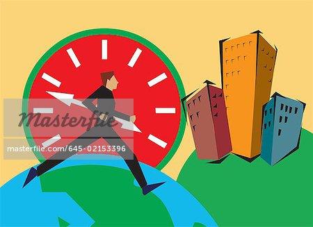 Seitenansicht des ein Mann läuft auf Globus von Gebäuden und Uhr