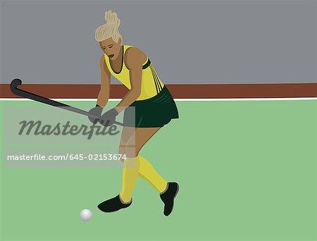 Feminine hockey player