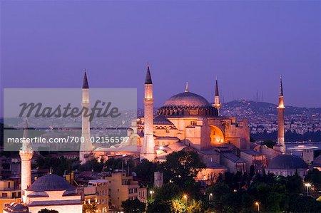 Haghia Sophia pendant la nuit, Istanbul, Turquie