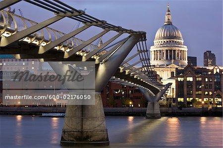Millennium Bridge and Saint Paul's Cathedral, London, England