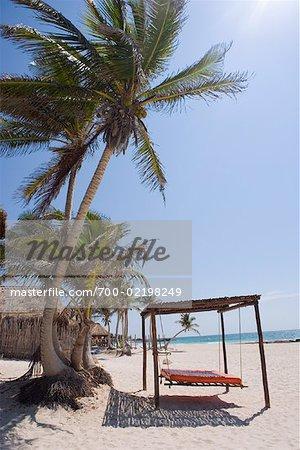 Hangende Bett Am Strand Tulum Mexiko Stockbilder Masterfile