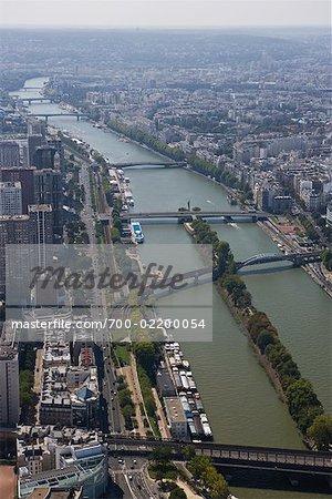Vue aérienne de la rivière Seine, Paris, France