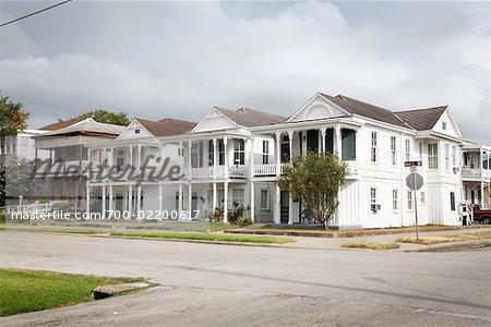 Rues et maisons, Galveston, Texas, USA