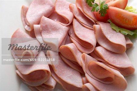 Many slices of ham