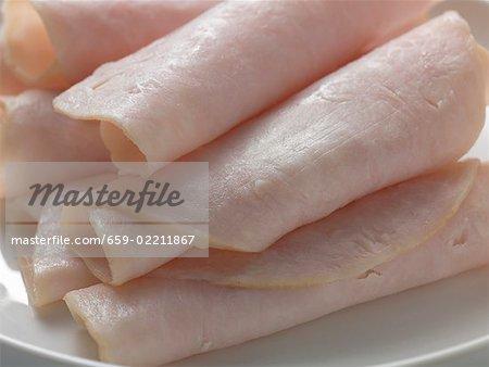 Several ham rolls (close-up)