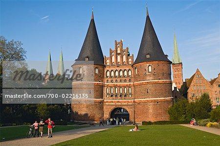 Holsten Gate, Marienkirche and Petrikirche in the Background, Lubeck, Schleswig-Holstein, Germany