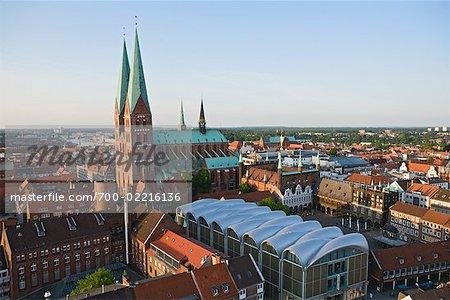Marienkirche et City Centre, Lübeck, Schleswig-Holstein, Allemagne