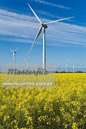 Éoliennes à Heide, Schleswig-Holstein, Allemagne