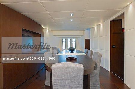 Interior of Dining Room of Luxury Yacht