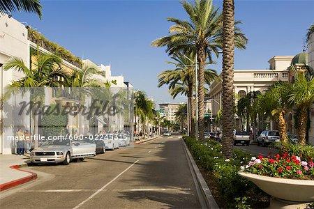 Vue Down Rodeo Drive, Beverly Hills, Californie, USA