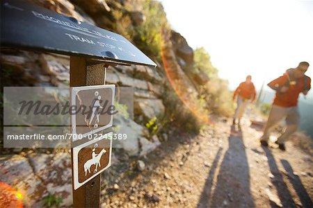 Hiking Sign and Hikers on Trail, Sabino Canyon, Arizona, USA