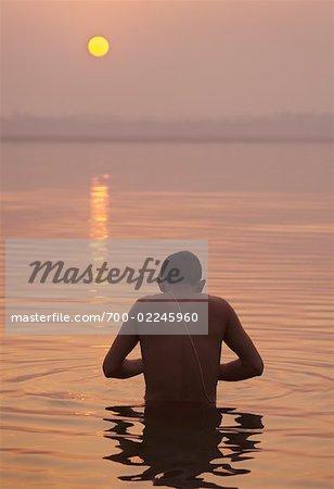 Pilgrim Bathing in the Ganges River, Varanasi, Uttar Pradesh, India