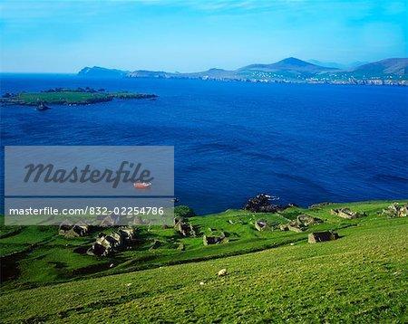 Village désert, Blasket îles péninsule de Dingle, co. Kerry, Irlande