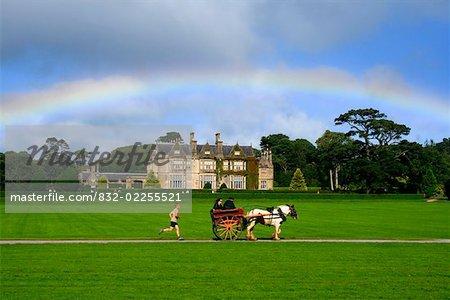 Muckross House, Killarney, County Kerry, Irland; Regenbogen über Mansion und Immobilien