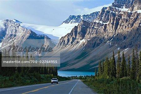 Promenade des glaciers près du lac Bow, Parc National Banff, Alberta, Canada