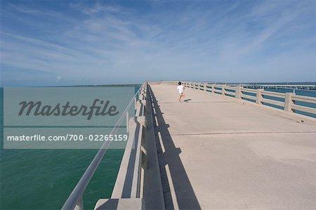 Boy Running on Pier, Bahia Honda State Park, Florida Keys, Florida, USA
