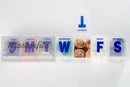 Boîte de calendrier de médicaments sur ordonnance contenant des pièces de monnaie et capsules